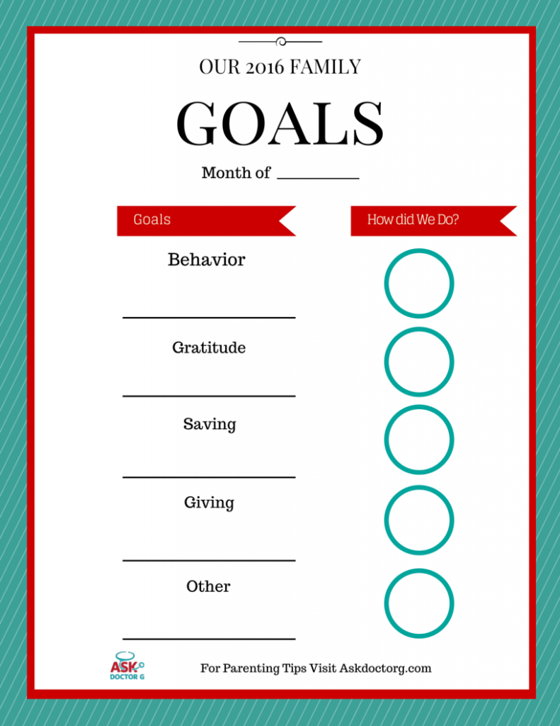 Setting Your Family Goals for 2016 - Ask Doctor G